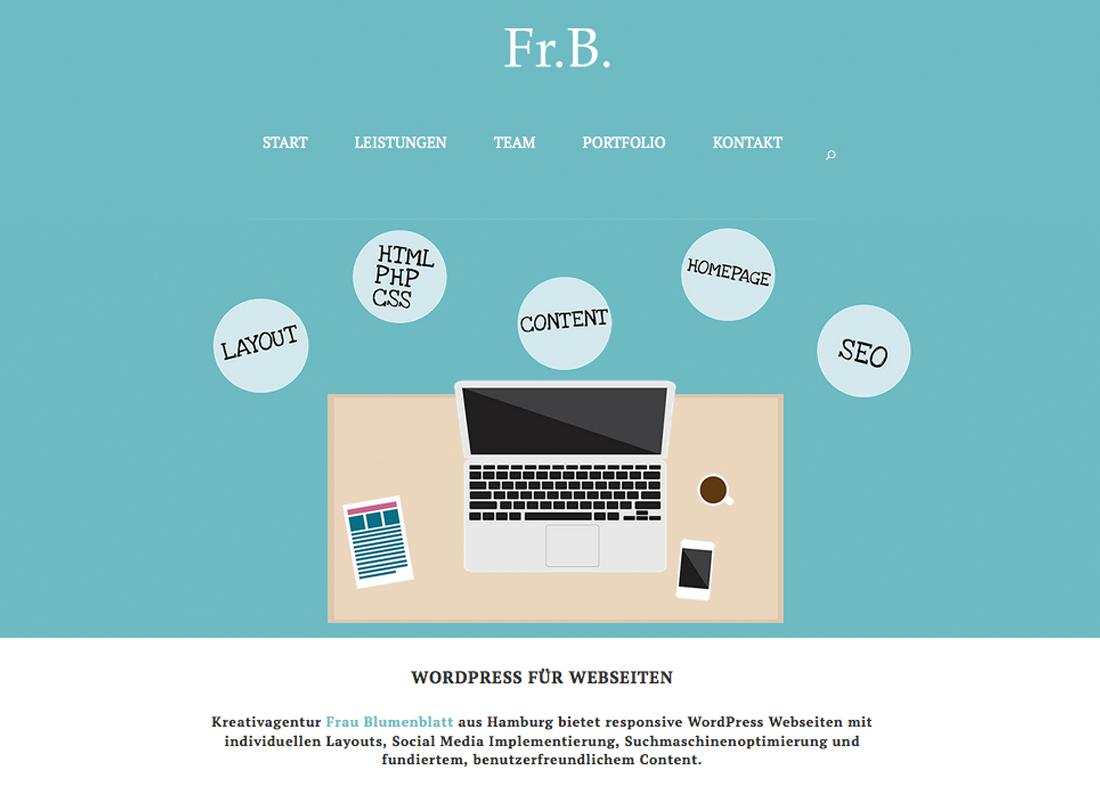 Frau Blumenblatt Wordpress Webseite